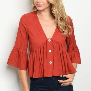Cropped Button Blouse